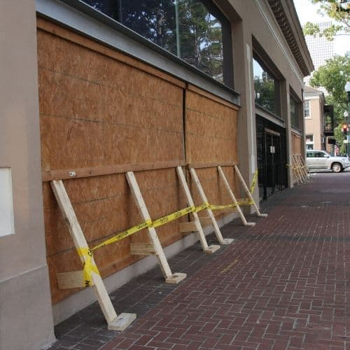 Business continuity planning - boarded up business