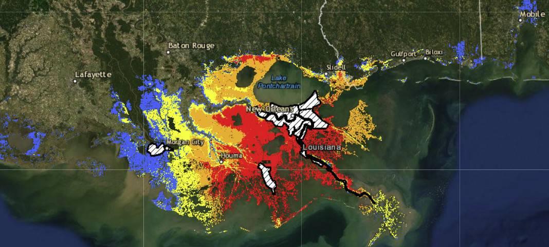 Hurricane Ida August 29, 2021 National Hurricane Center's Forecast for Potential Storm Surge Flooding